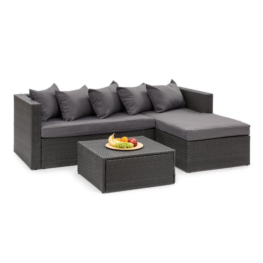 Blumfeldt Blumfeldt Theia Lounge Salon de jardin complet polyrotin noir & gris foncé