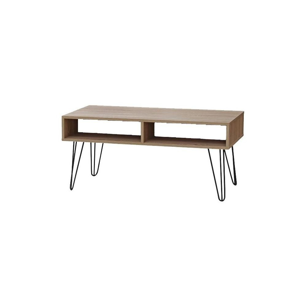 Urban Living Table basse 4 niches bois et pieds métal
