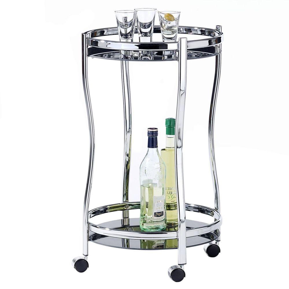 Idimex Chariot de service VEGA table d'appoint ronde sur roulettes chariot à thé et boisson en métal chromé 2 étagères en verre