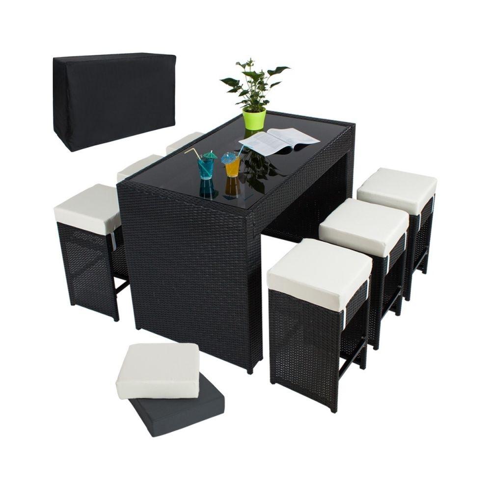 Helloshop26 Table haute salon de jardin rotin résine tressé synthétique + 6 tabourets rotin noir 2108014