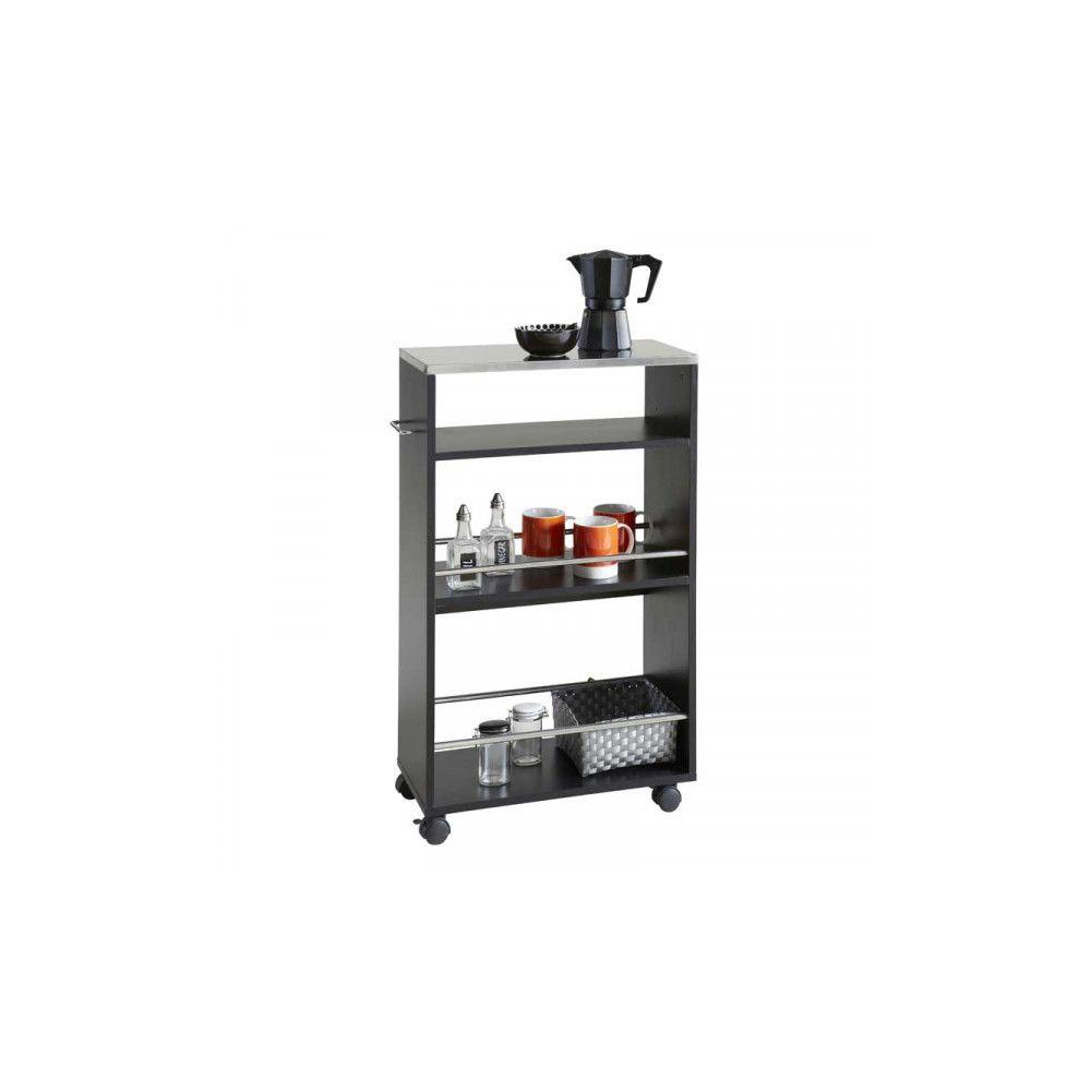 Dansmamaison Desserte de cuisine sur roulettes Noir - MERA - L 50 x l 24 x H 83 cm