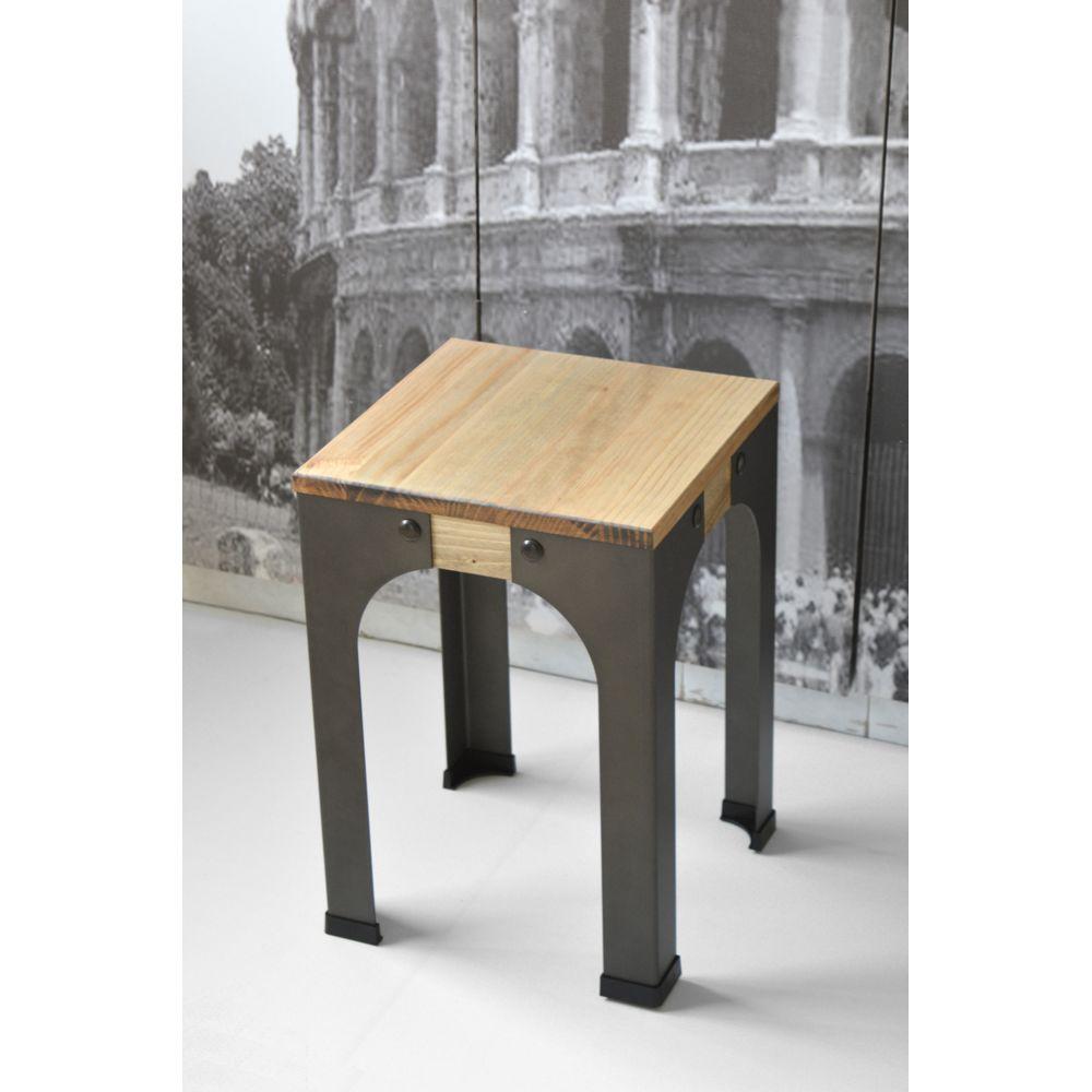 Ds Meubles Lot de 2 Tabourets bas - Industriel vintage bois et métal 32x32x46 cm