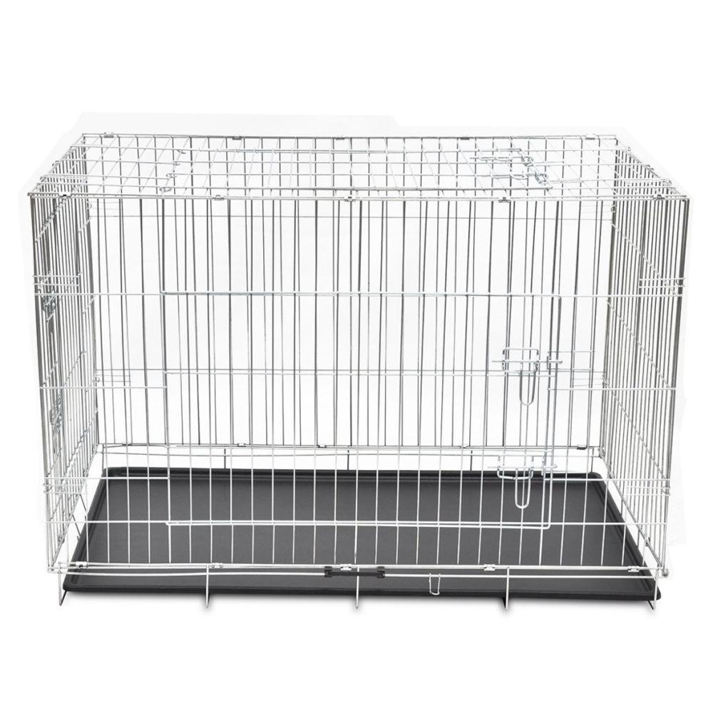 Helloshop26 Cage en métal pliable pour chien acier galvanisé 121 x 74 x 83 cm 3702024