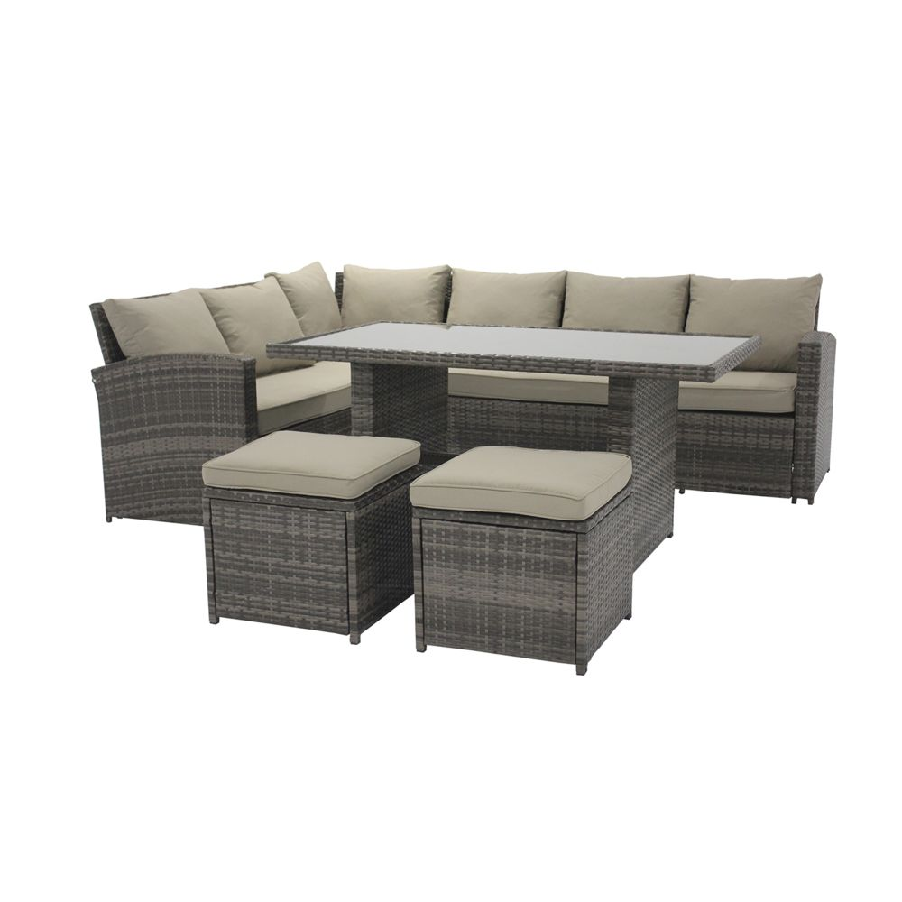 Chillvert Salon de Jardin Chillvert Cerdeña 1 Canapé d'Angle+ 1 Table+ 2 Tabourets Rotin et Aluminium