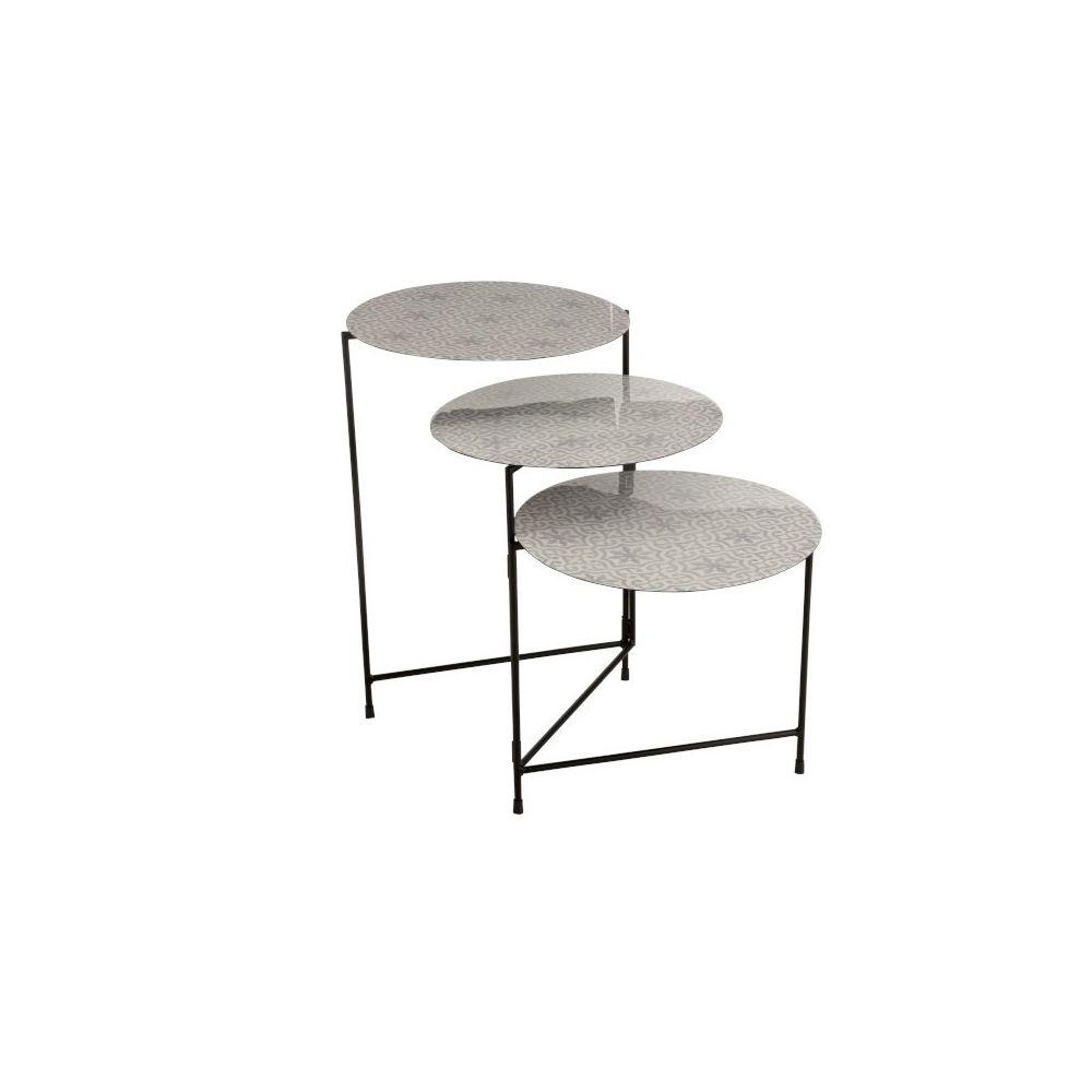J-Line Table Ronde 3 Parties Metal Laque Blanc/Gris