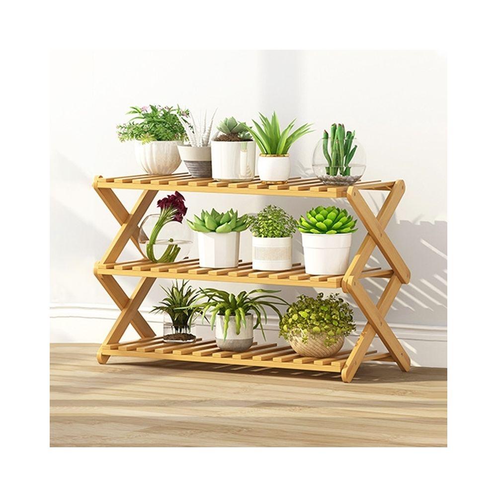 Wewoo Salon de balcon à 3 couchessupport de fleurs pliant en bois massifétagères de plantation potlongueur 70 cm