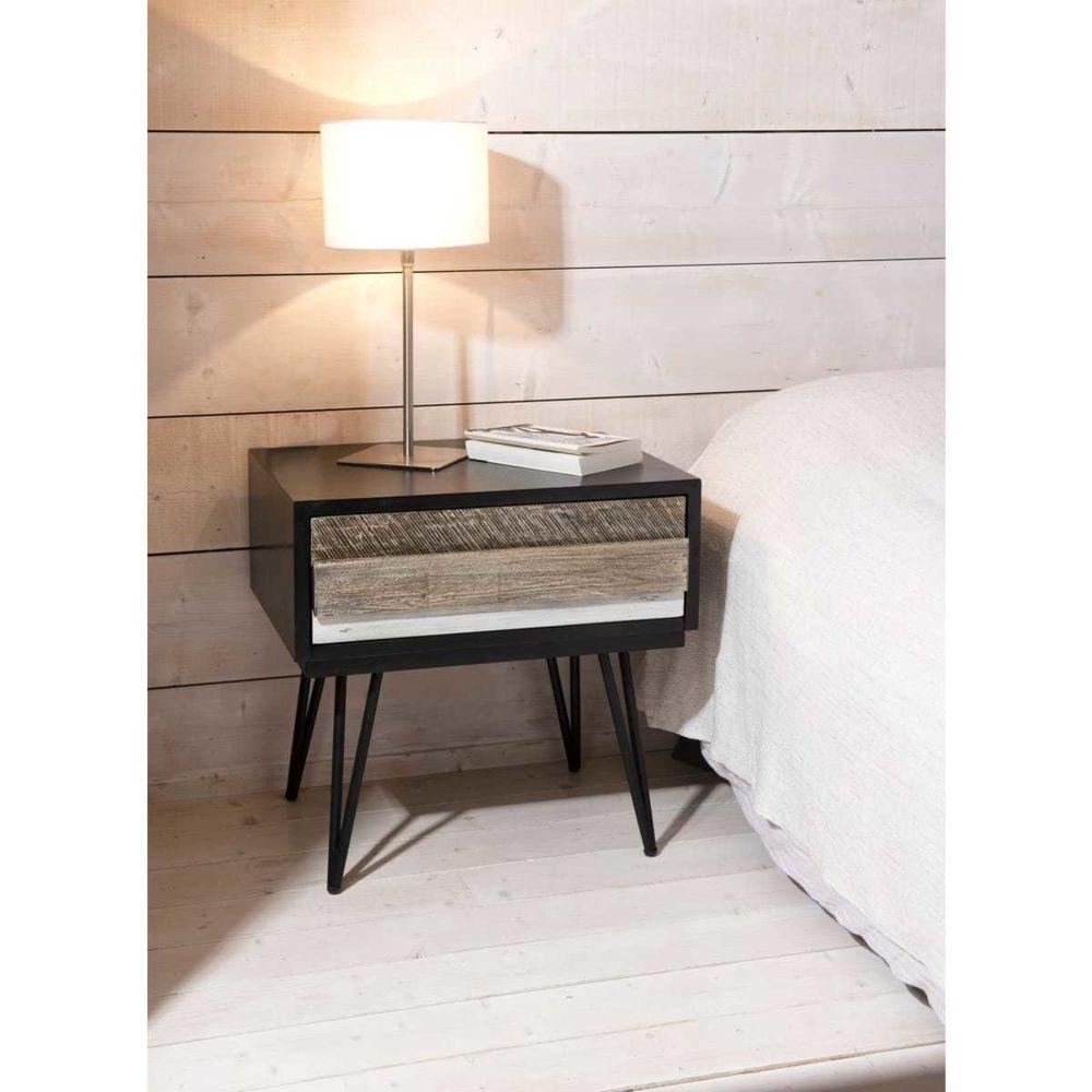MACABANE Table de chevet en Acacia massif 1 tiroir et pieds en pointe en métal L60xH60 cm ALEJAN