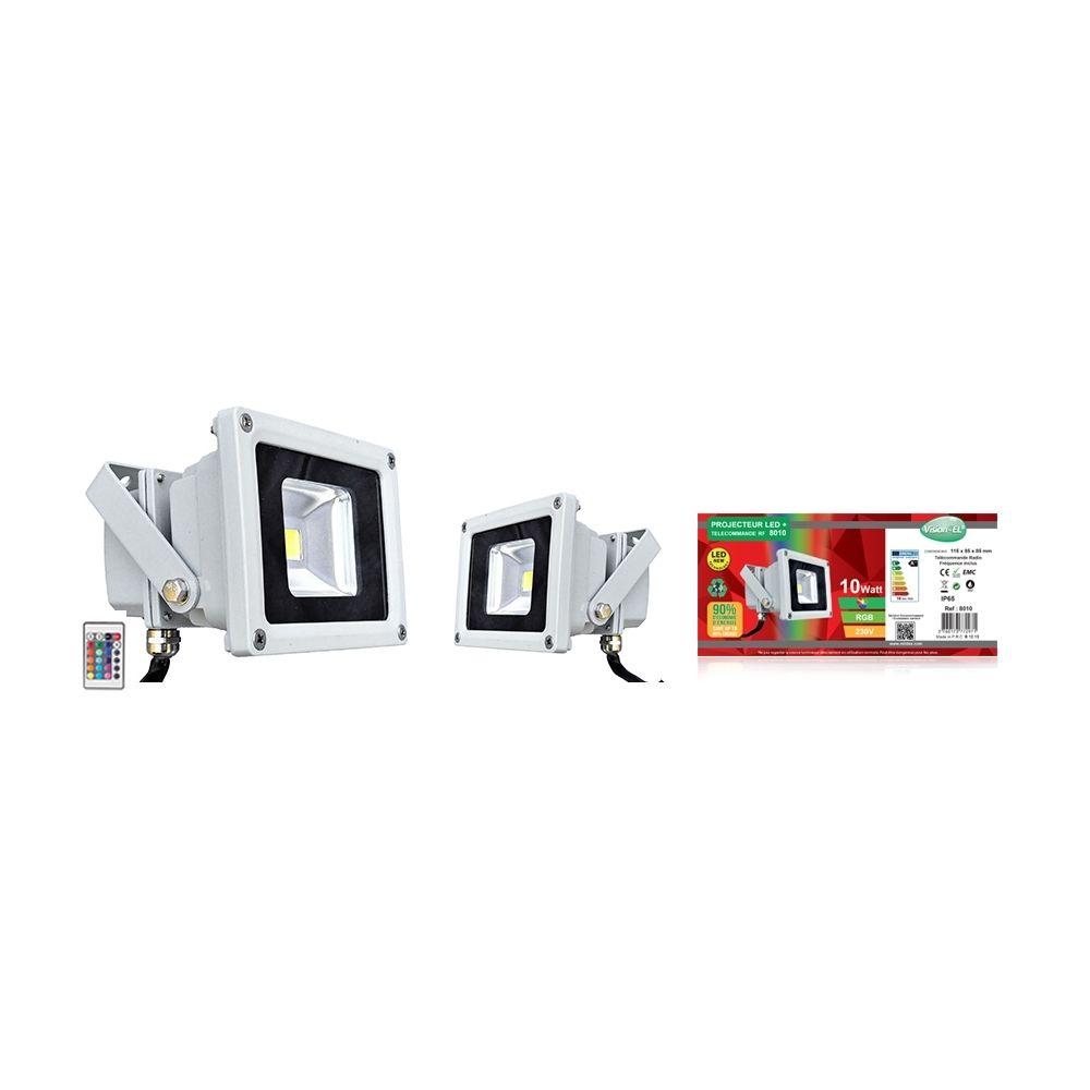 Vision-El projecteur extérieur à led - vision-el - 10w - rgb - gris - ip65 - télécommande