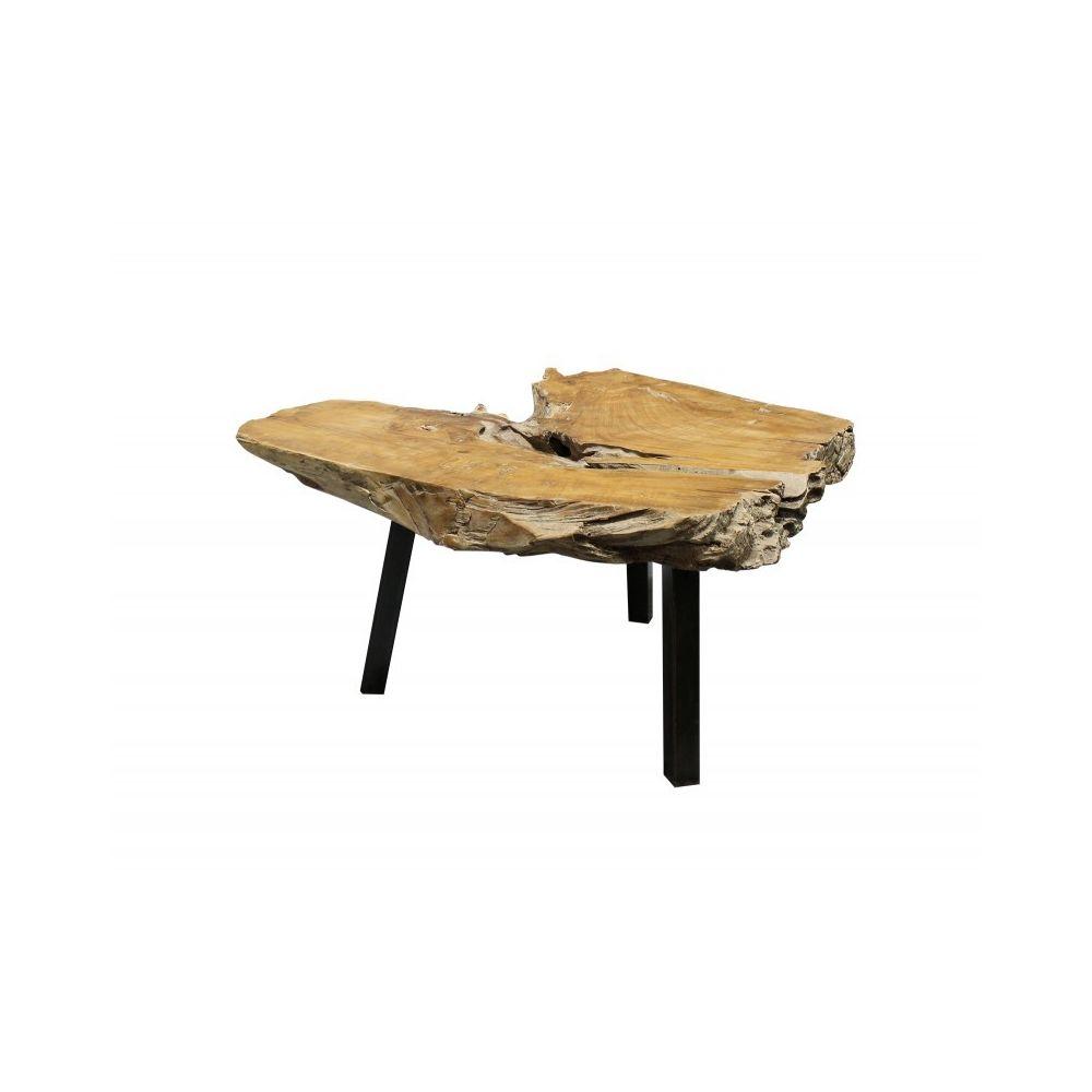 Meubletmoi Table Basse Racine de Teck et Pieds métal Noir - PADANG