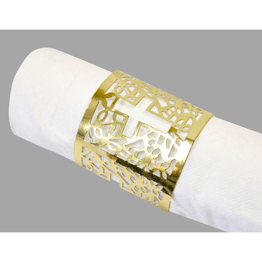 Visiodirect 10 Lots de 6 Décors de serviette communion Doré - 17,5 x 5,7 cm