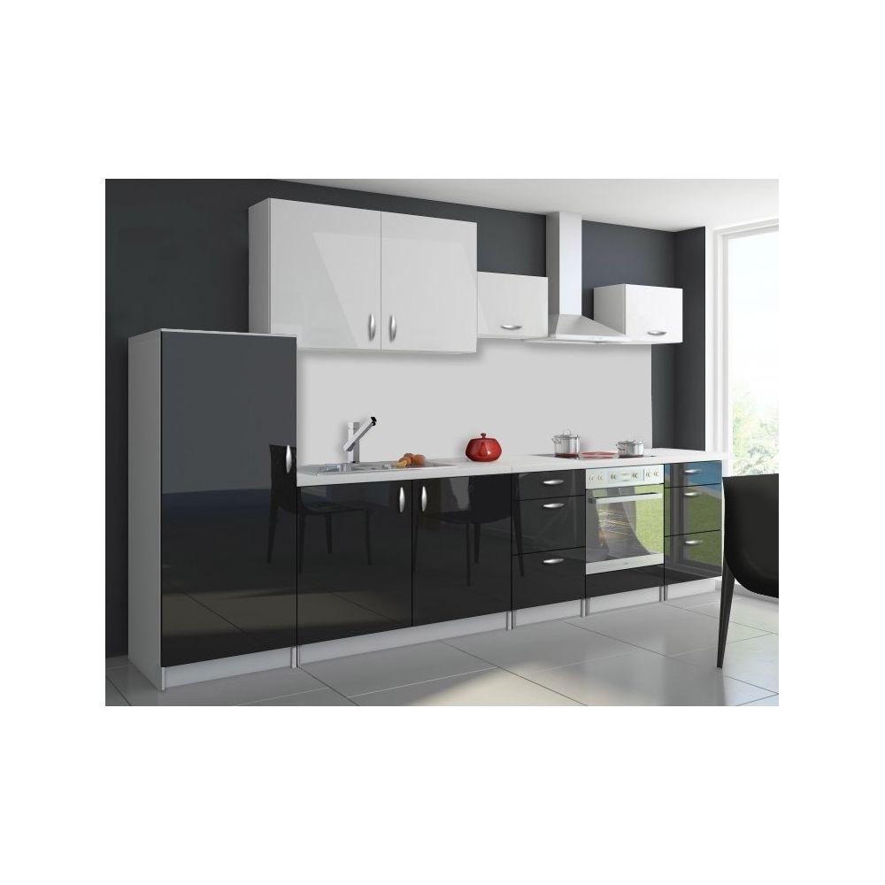 Meublesline Cuisine complète 320 cm OXIN laquée noir/blanc