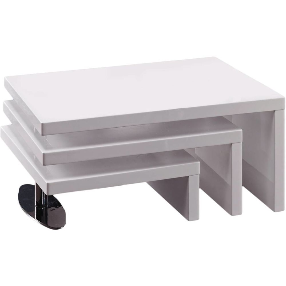 Habitat Et Jardin Table basse design Elysa - 80 x 59 x 37,5 cm - Blanc laqué