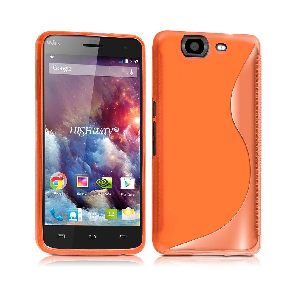 Karylax - Housse Coque Semi Rigide S-Line couleur Orange Translucide pour Wiko Highway 4G Film de Protection