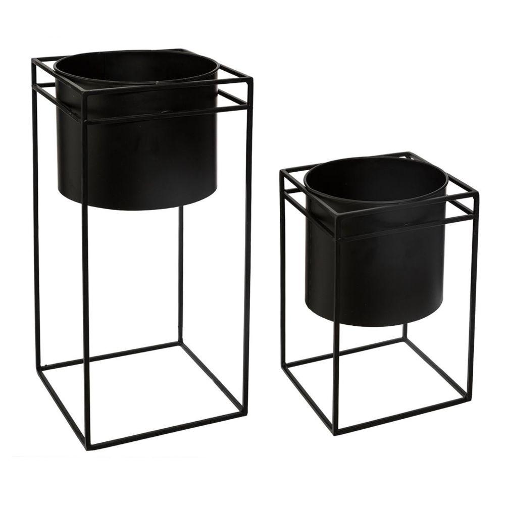 Pegane Set de 2 Pots noir avec support en métal -PEGANE-