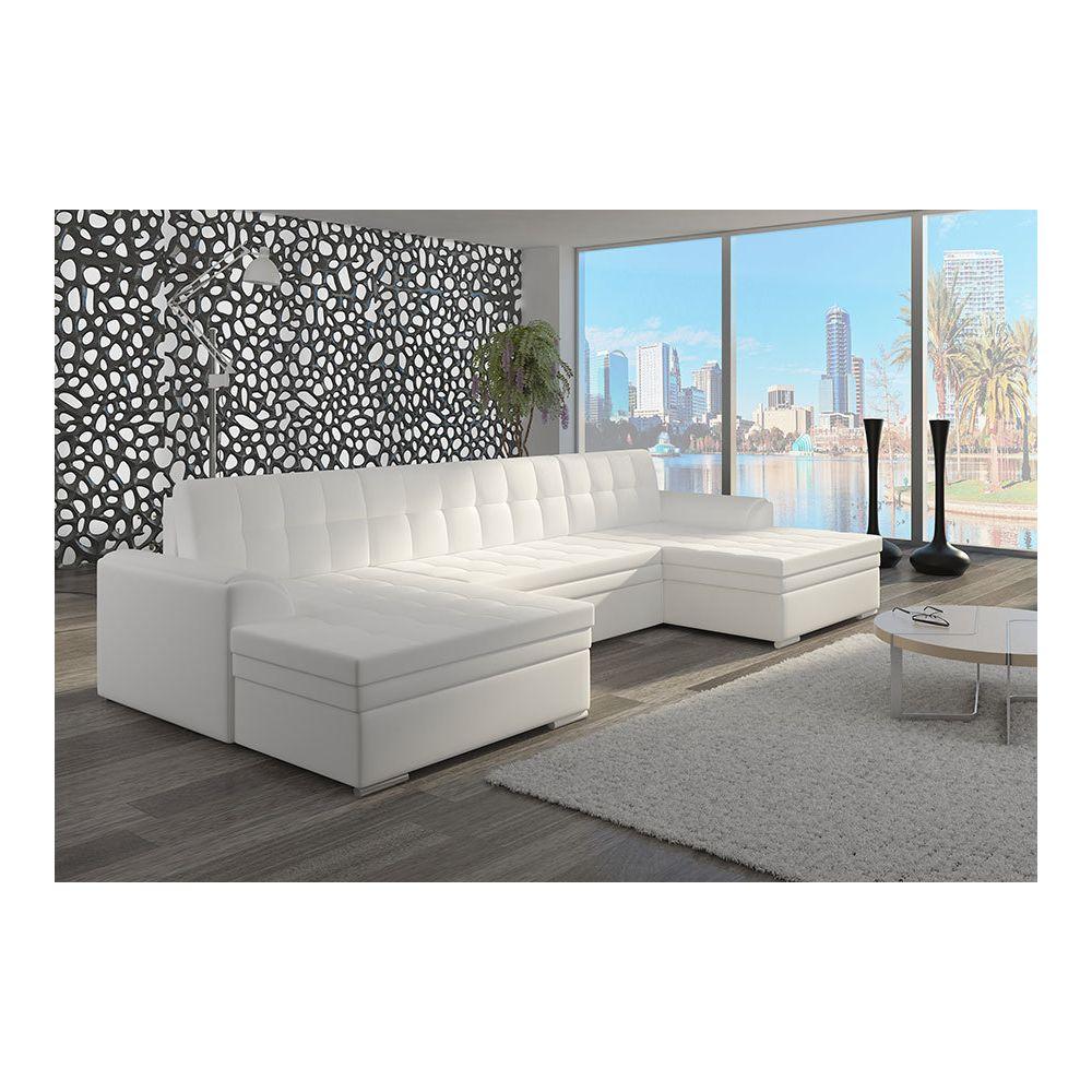 Kasalinea Canapé d'angle panoramique convertible blanc ou noir YORK