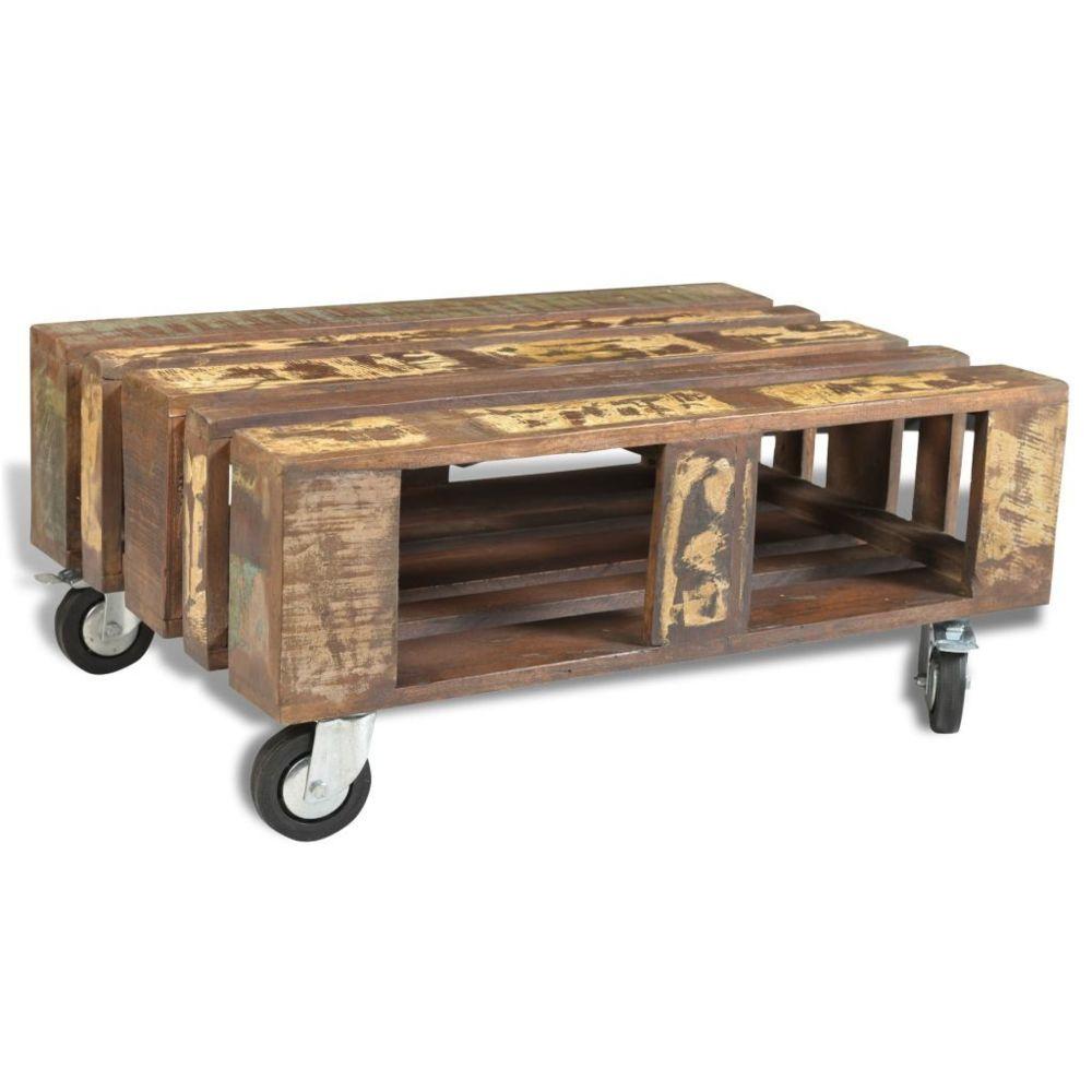 Vidaxl vidaXL Table basse avec 4 roulettes Bois recyclé