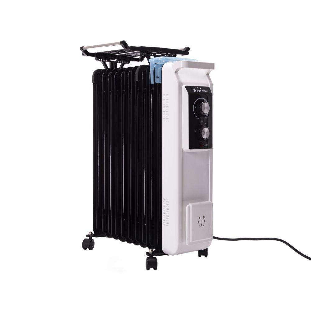 Purline radiateur à huile avec corde à linge et bol d'humidificateur 2500W blanc noir