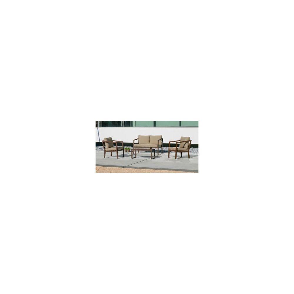 Hevea Salon de jardin sofa acapulco-7 finition bronze marron tissus marron ester dralon de 4 à 5 places
