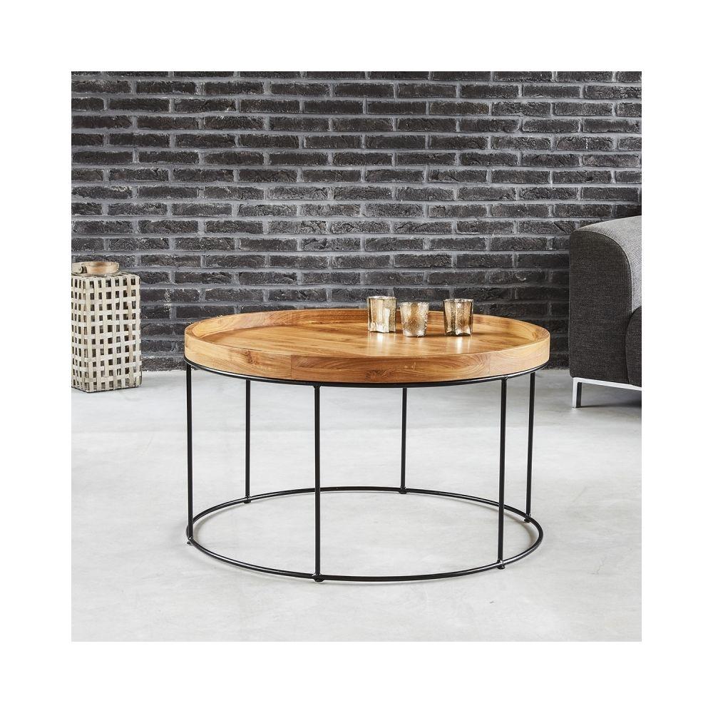 Bois Dessus Bois Dessous Table basse ronde en bois de teck et métal