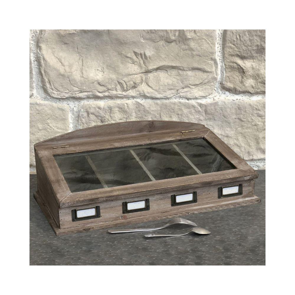L'Originale Deco Boîte à Couvert Range Couvert de Cuisine Bois Vitrée 47 cm x 27 cm x 16 cm