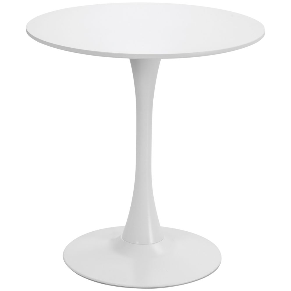 Homcom Table ronde tulipe design Ø 60 x 73H cm métal MDF blanc