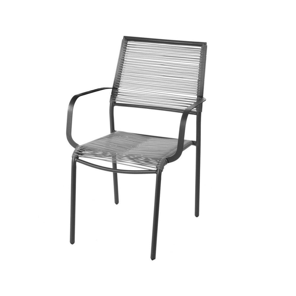 Ma Maison Mes Tendances Lot de 2 chaises de jardin en acier gris ALAVA - L 62.5 x l 55 x H 84