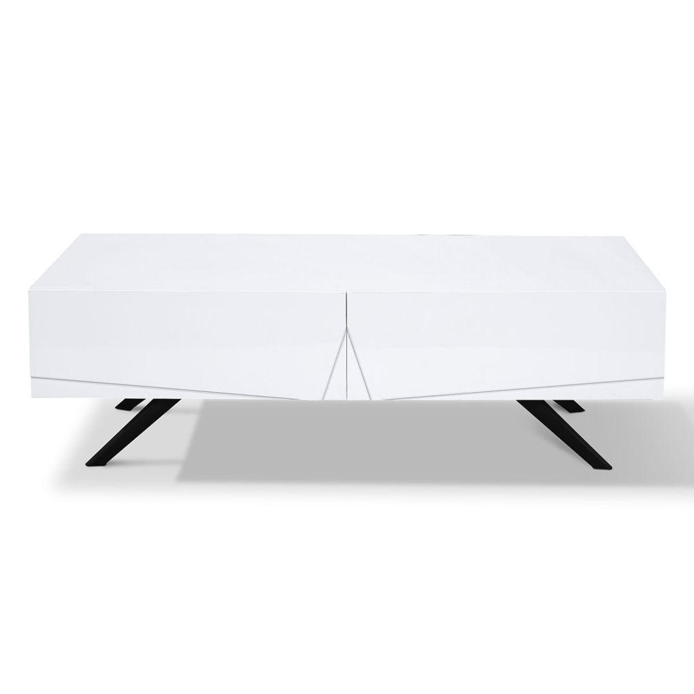 La Maison Du Canapé Table basse laqué ASTER - Blanc - Blanc
