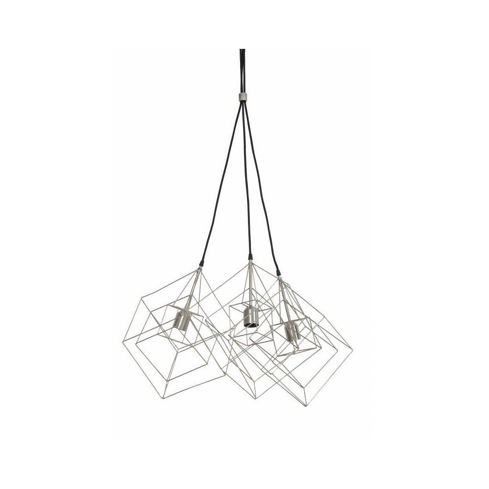 L'Héritier Du Temps Luminaires Multiples à Suspendre KUBINKA Eclairage Moderne Suspension Géométrique en Métal Patiné Etain 25x25x26cm