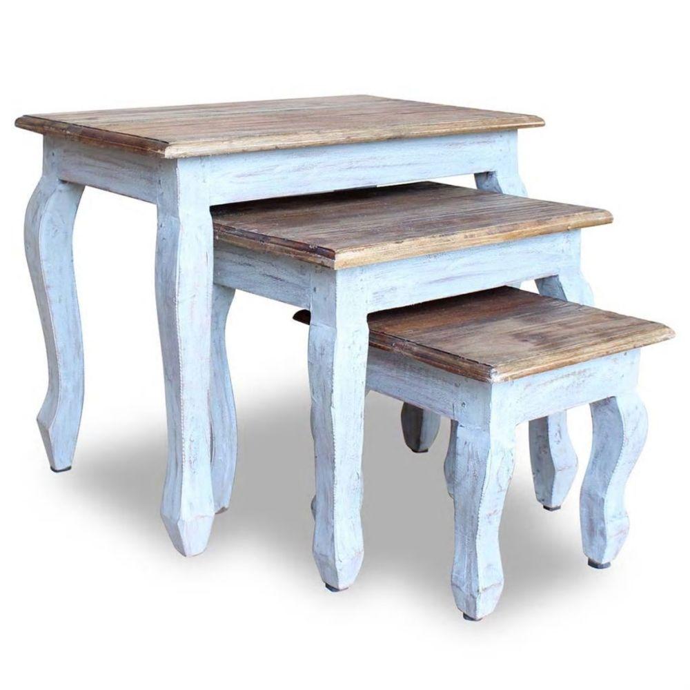Vidaxl vidaXL Ensemble de tables gigognes 3 pcs Bois de récupération massif