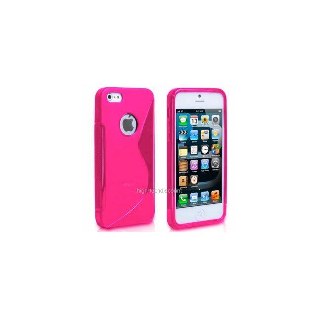 Housse etui coque silicone gel ROSE pour Apple iPhone 5 5S 5G film ecran