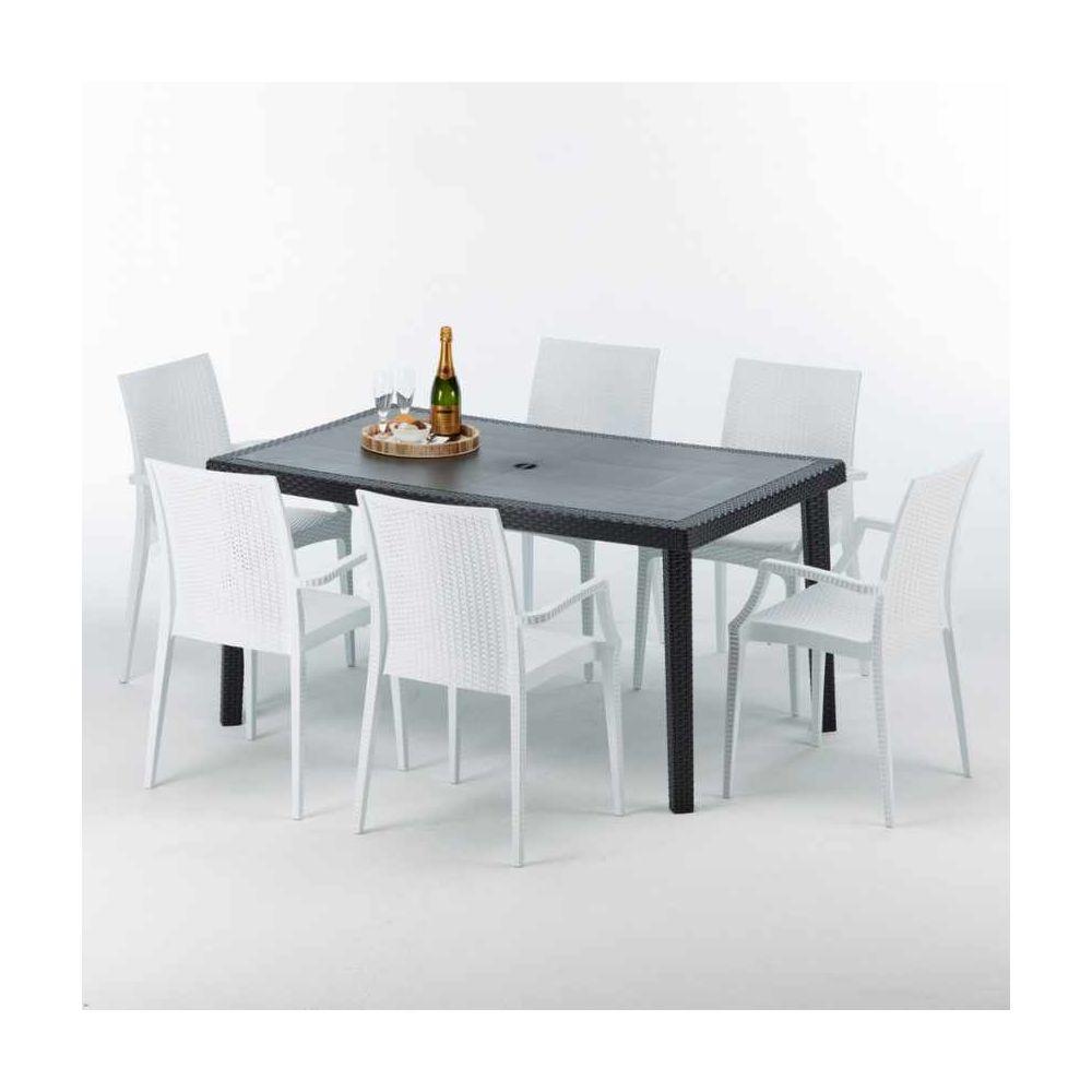 Grand Soleil Table rectangulaire et 6 chaises Poly rotin colorées 150x90cm noir Enjoy, Chaises Modèle: Bistrot Arm Blanc