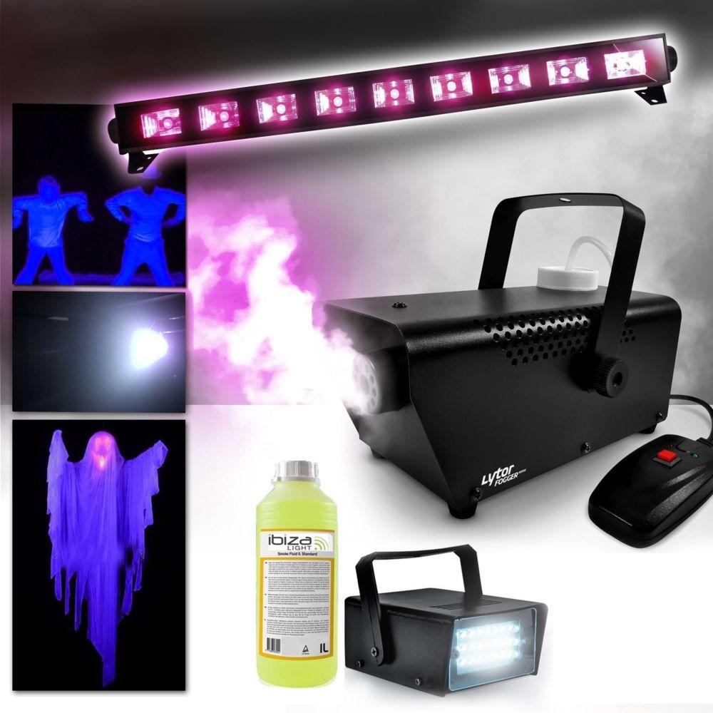 Ibiza Light Machine à fumée 400W + Liquide inclus + Barre Néon Lumière noire FLUO Halloween + Mini Strobe LED