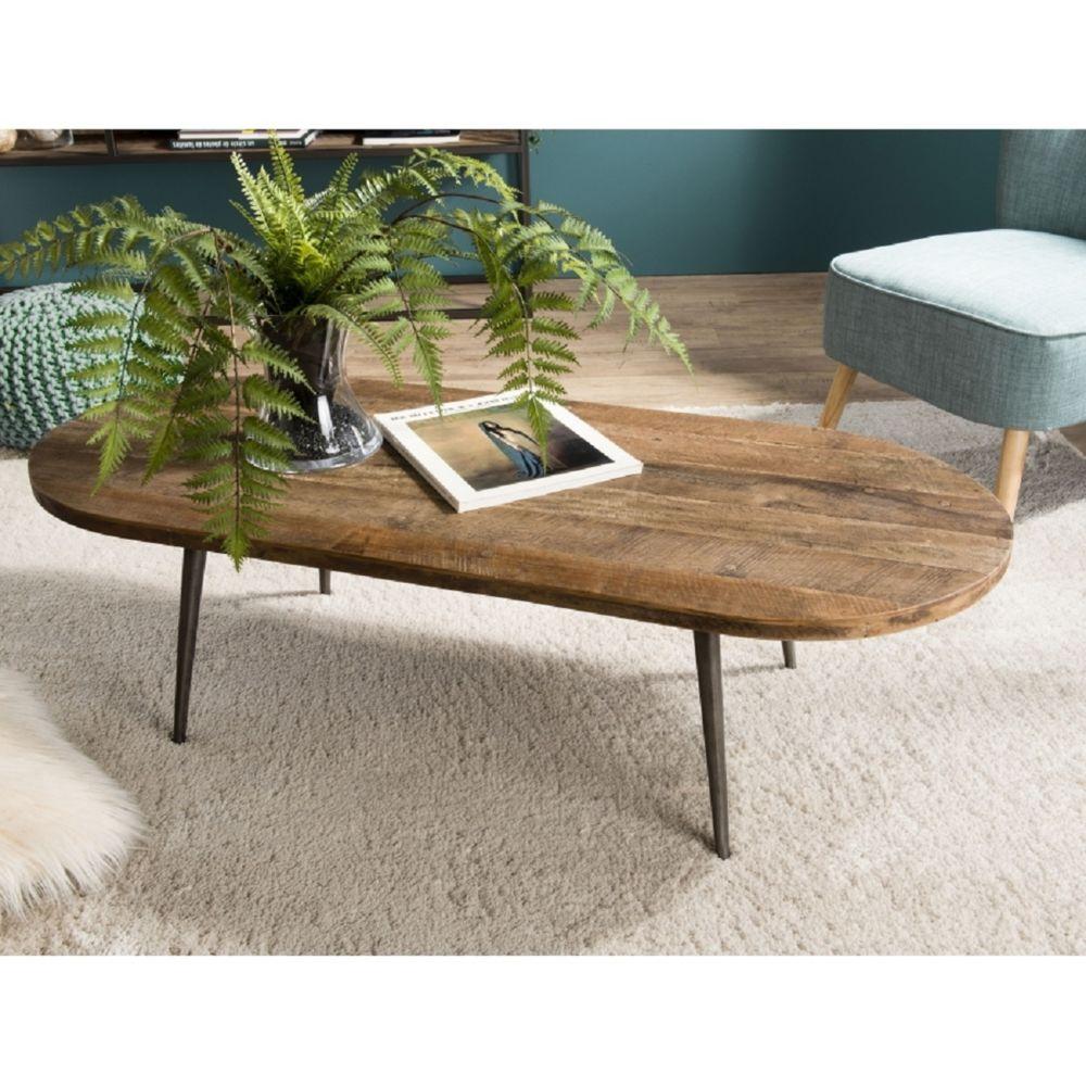 MACABANE Table basse ovale Teck recyclé et métal