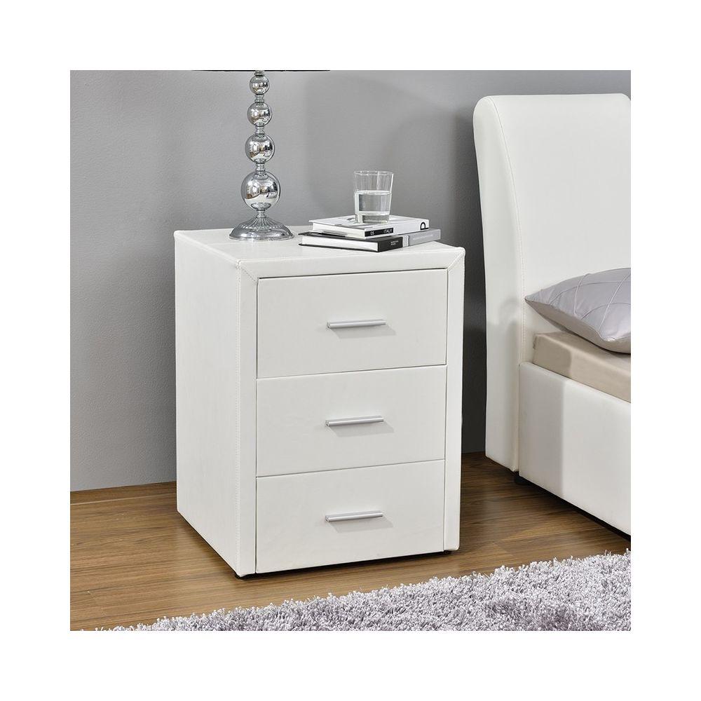 Meubler Design Table chevet 3 tiroirs Kasi - Blanc