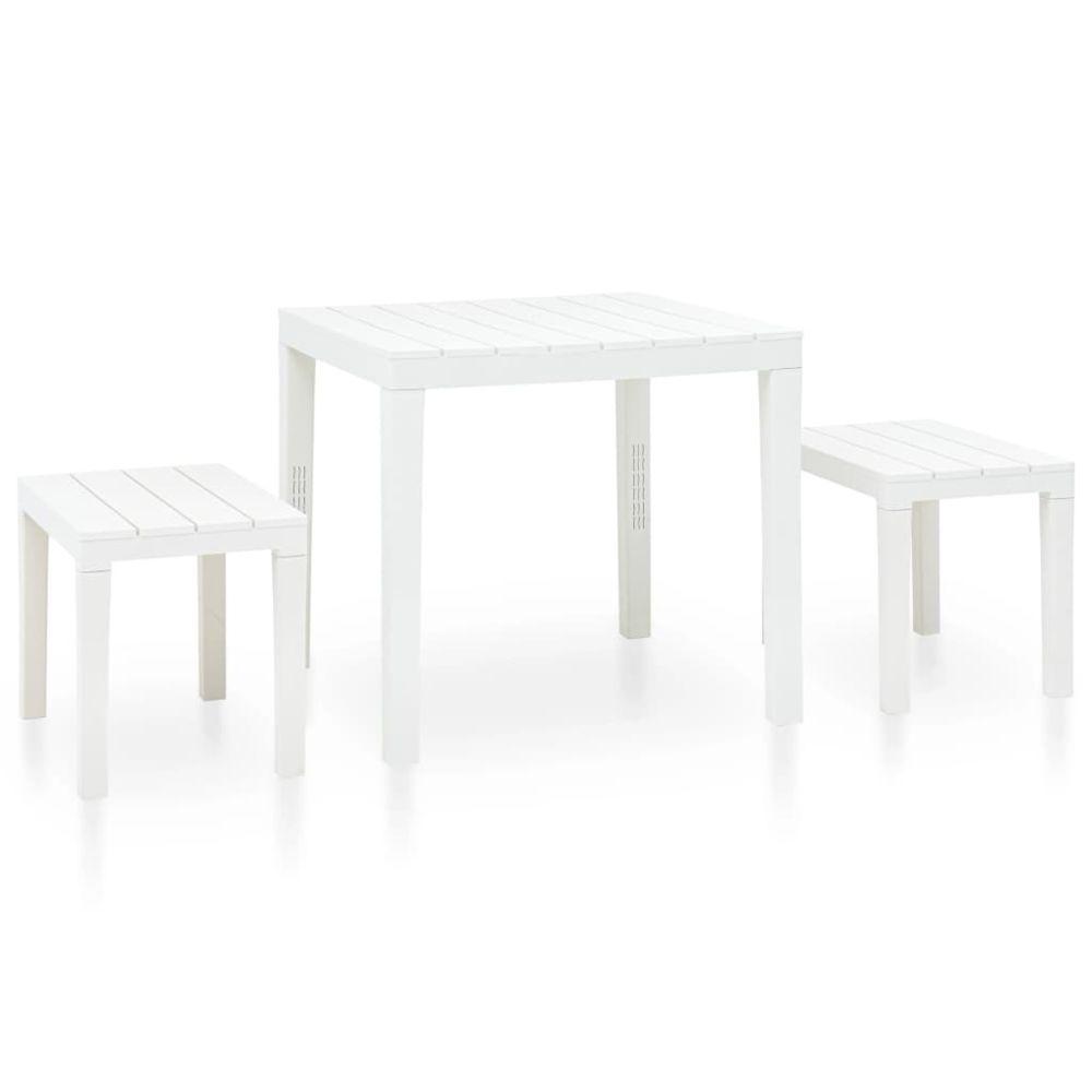 Vidaxl vidaXL Table de jardin avec 2 bancs Plastique Blanc