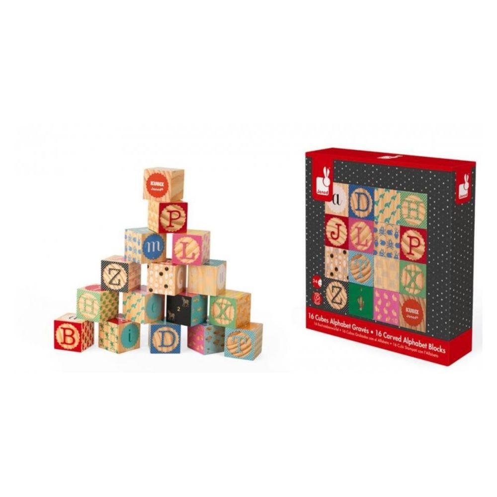 Juratoys-Janod Kubix 16 cubes alphabet graves