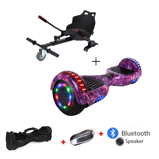 Mac Wheel -6,5 pouces ciel violet Gyropod Overboard Hoverboard Smart Scooter + Bluetooth + clé à distance + sac + Roue LED + hoverkart Mac Wheel  - Gyropode, Hoverboard