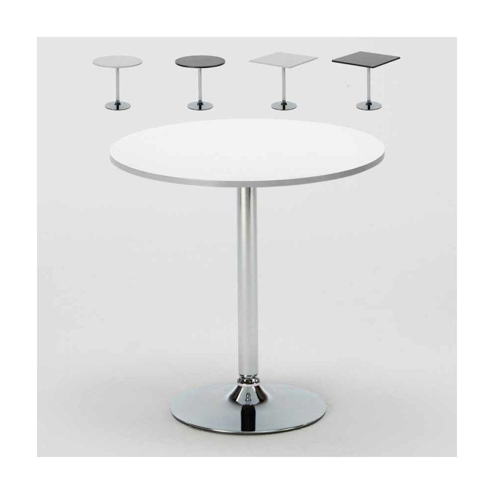 Ahd Amazing Home Design Bar Table ronde blanc carré noir 70x70 B