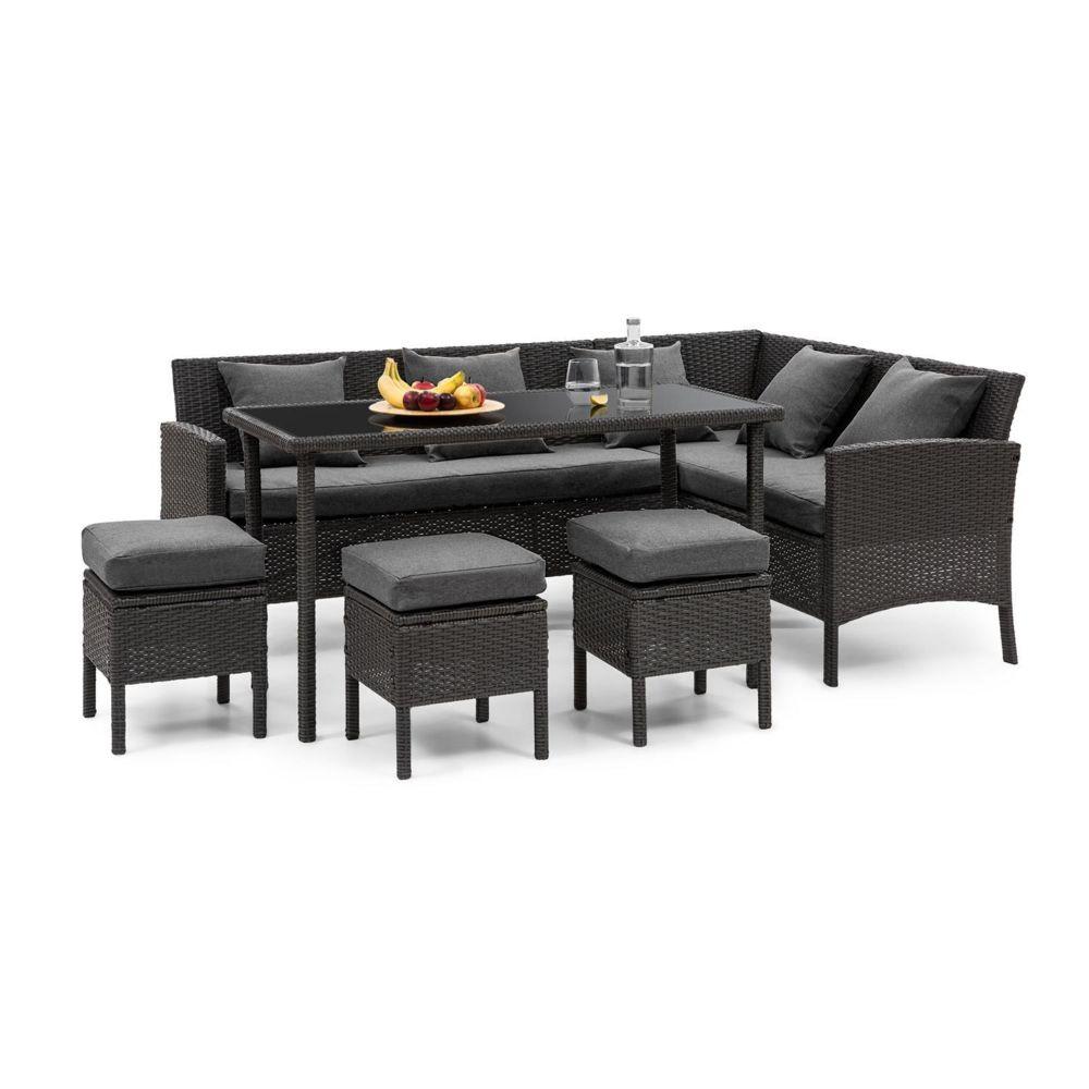 Blumfeldt Blumfeldt Titania Lounge Salon de jardin complet polyrotin noir & gris foncé