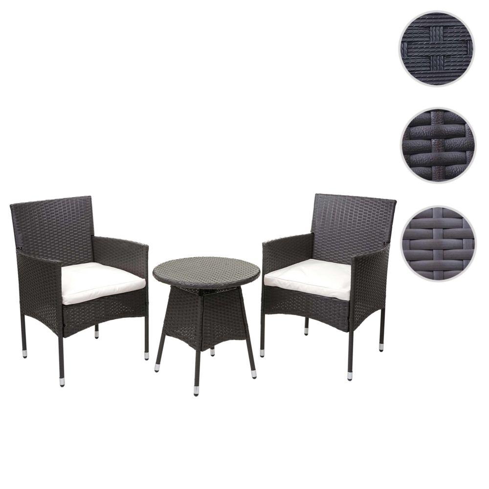 Mendler Ensemble de balcon en polyrotin HWC-G27, garniture de jardin, 2x fauteuil+table ~ marron, coussin crème