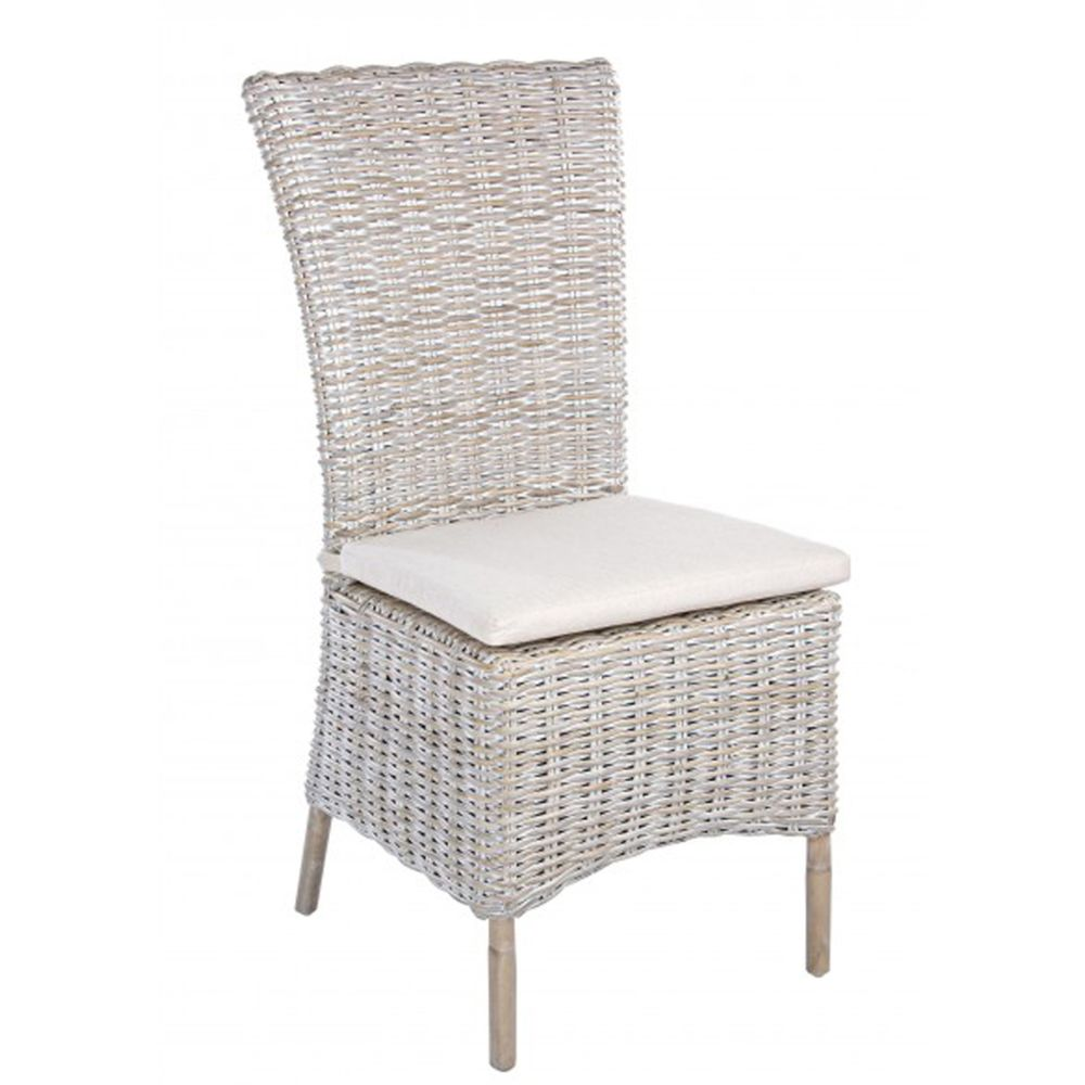 Pegane Chaise en rotin avec coussin - Dim : L 51 x P 57 x H 102 cm -PEGANE