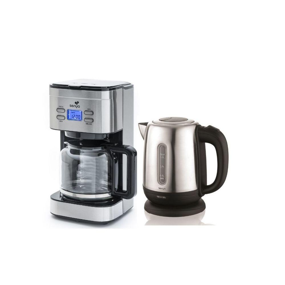 Senya Senya set petit déjeuner cafetière programmable 1,5L et Bouilloire électrique Inox 1,2L