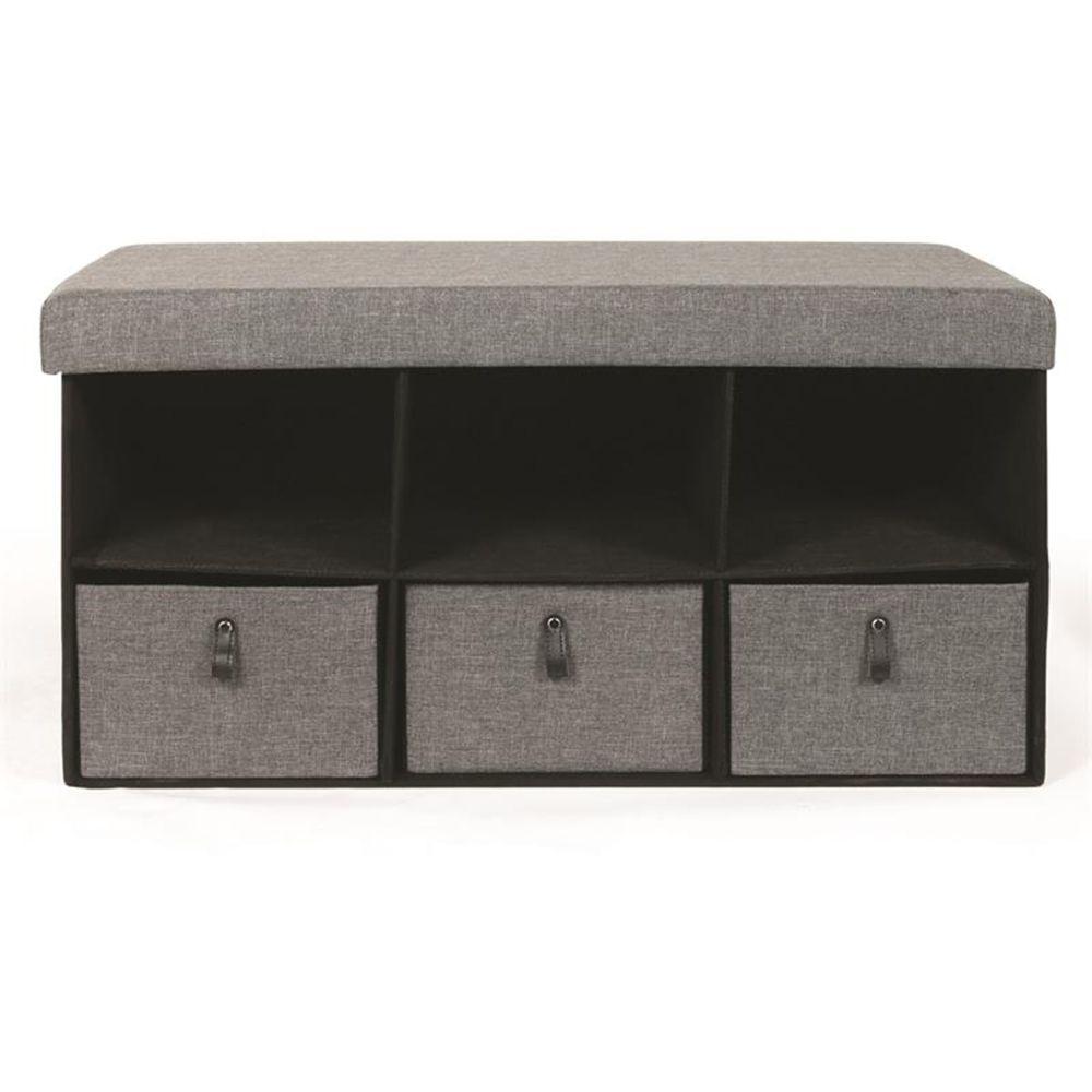 Pegane Banc pliable avec rangements coloris gris foncé - Dim : 38 x 38 x 76 cm -PEGANE