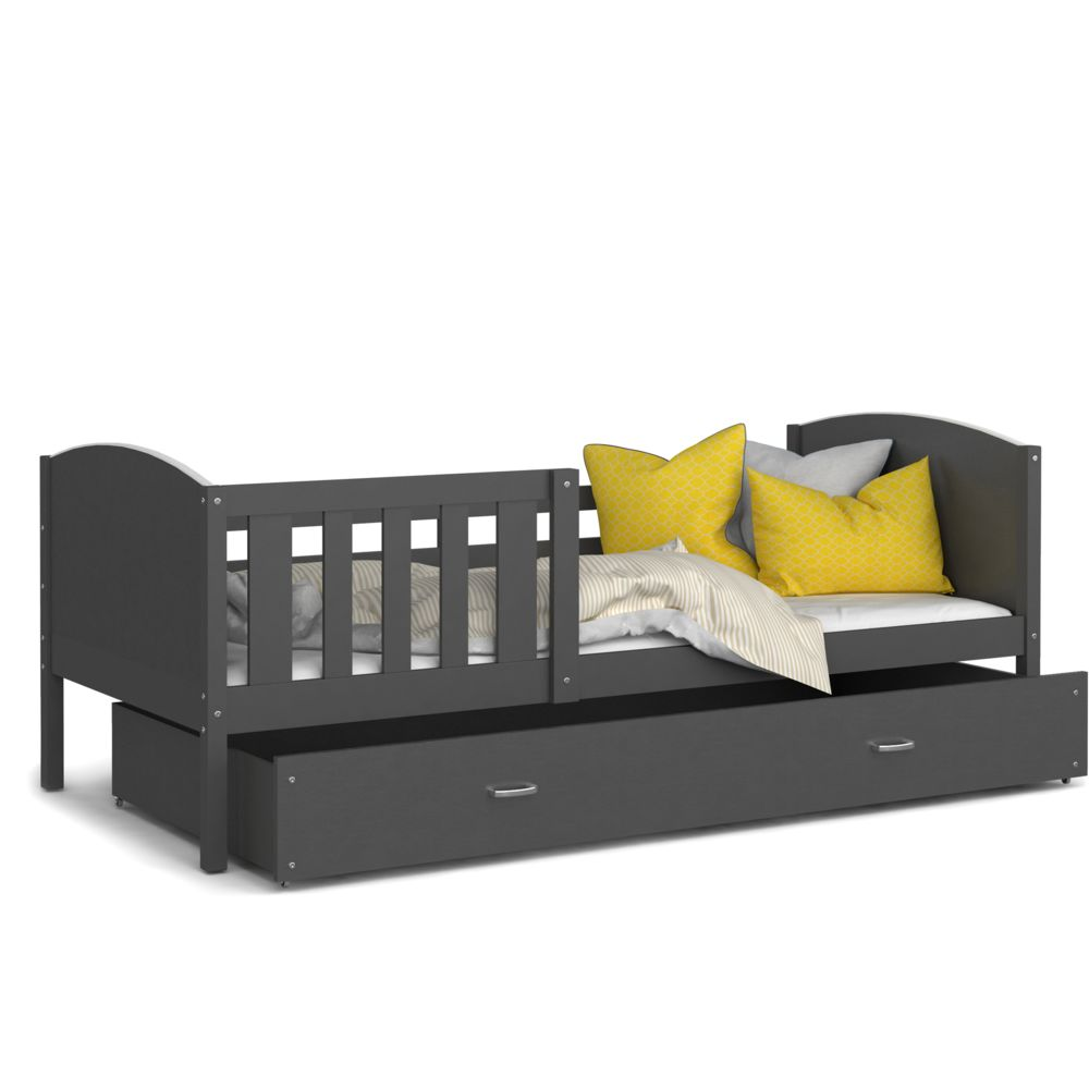 Kids Literie Lit enfant Tomy 90x190 gris gris livré avec tiroir, sommier et matelas en mousse de 7cm offert