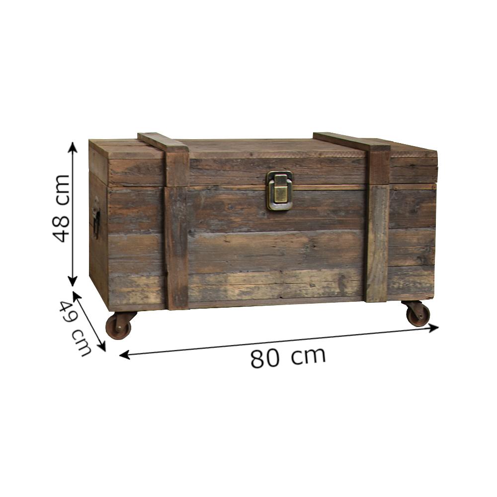 L'Originale Deco Grand Style ancien Coffre à Roulettes Rangement Bouteilles 80 cm x 49 cm x 48 cm