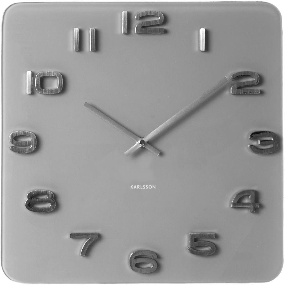 Karlsson Horloge carrée vintage en verre gris 35 cm