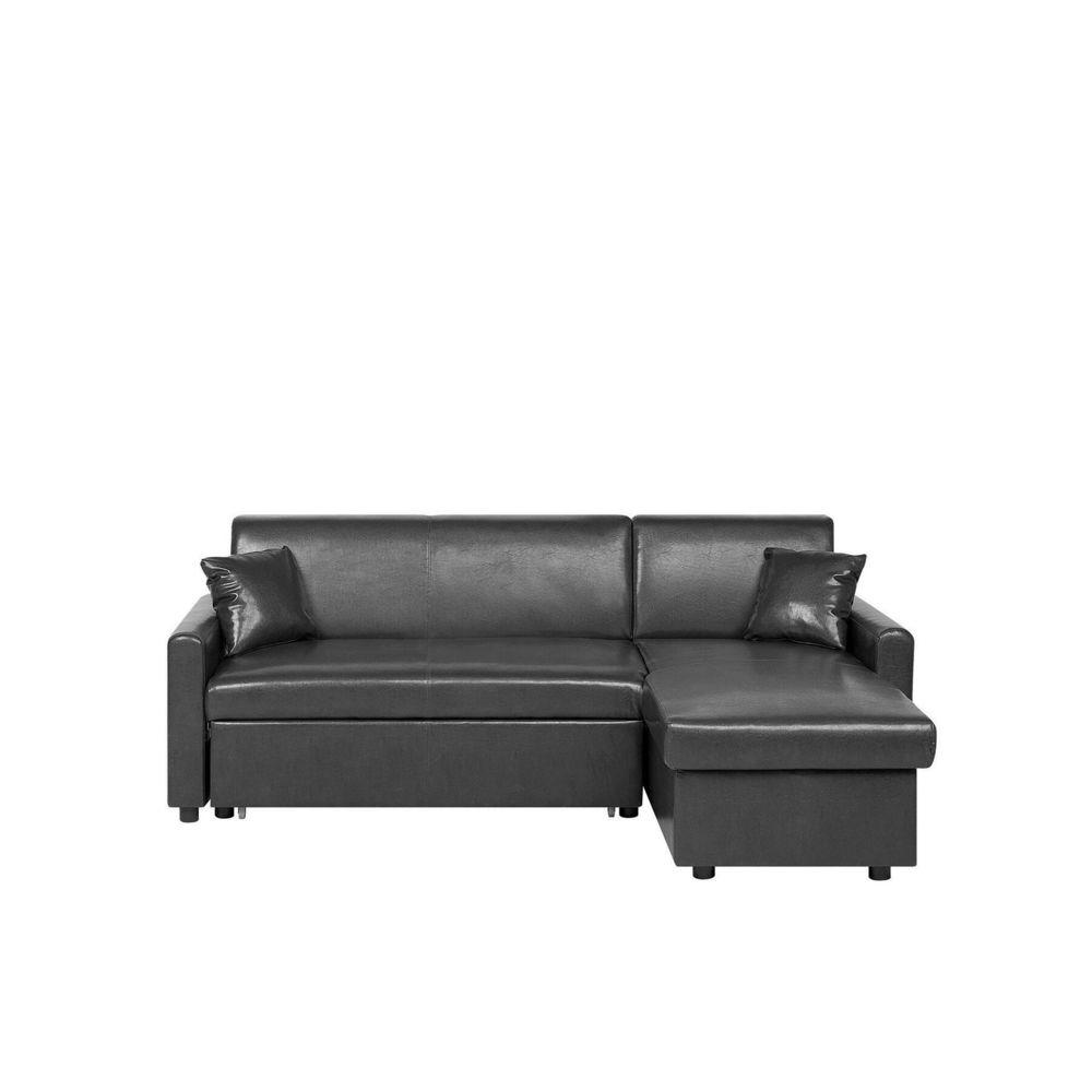 Beliani Beliani Canapé angle à gauche en simili-cuir noir OGNA - noir