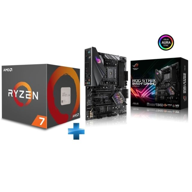 Amd - Ryzen 7 2700X Wraith Prism Edition - 3,7/4,3 GHz + Carte mère gaming Rog Strix B450-F Asus - Kit d'évolution
