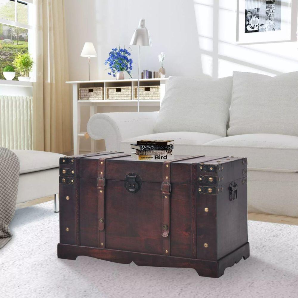Vidaxl Coffre vintage de rangement Bois 66 x 38 x 40 cm | Brun