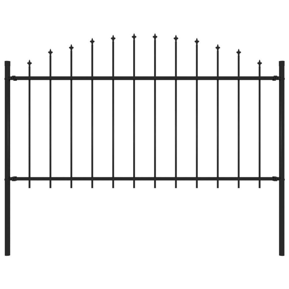Vidaxl vidaXL Clôture de jardin à dessus en lance Acier (1,25-1,5)x1,7 m Noir